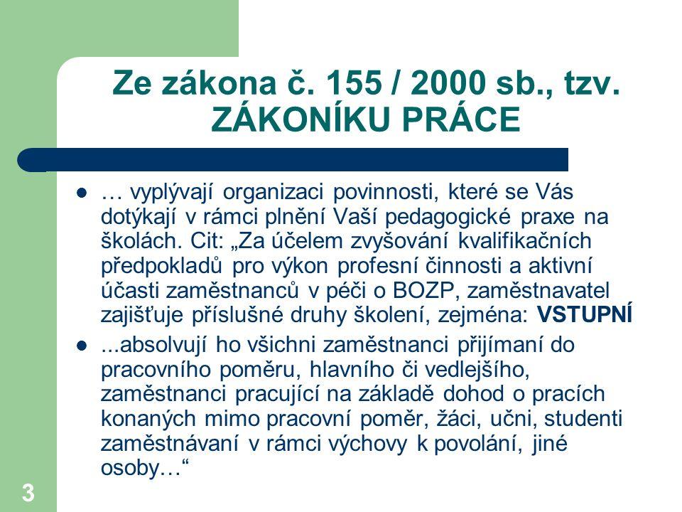 Ze zákona č. 155 / 2000 sb., tzv. ZÁKONÍKU PRÁCE