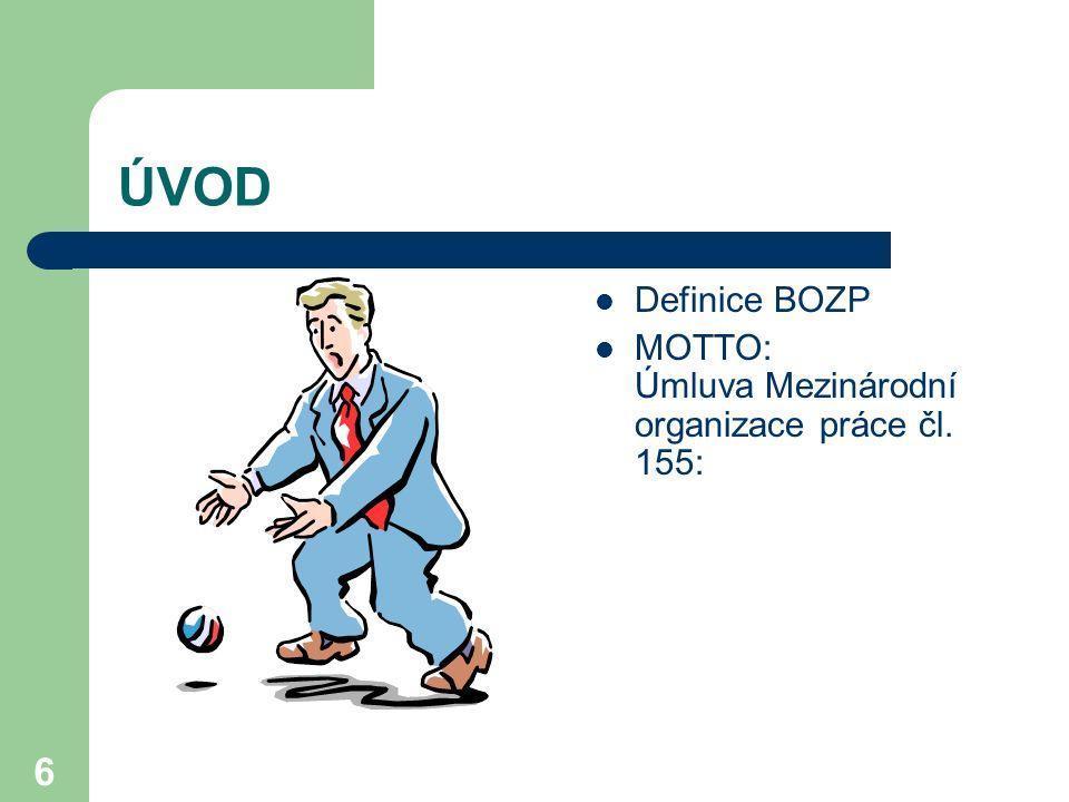 ÚVOD Definice BOZP MOTTO: Úmluva Mezinárodní organizace práce čl. 155: