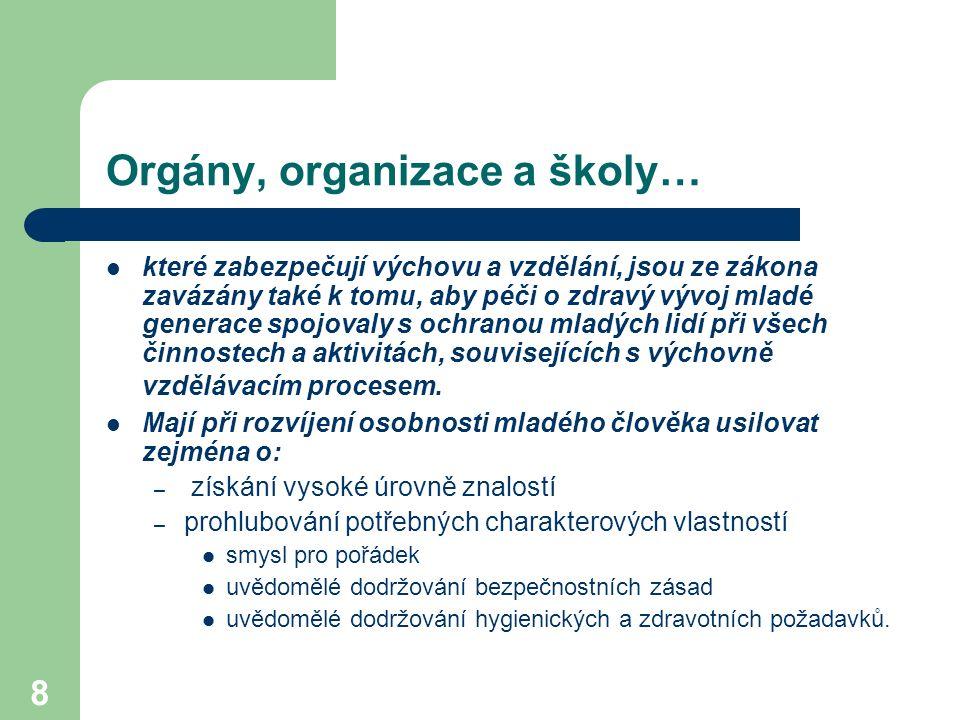 Orgány, organizace a školy…