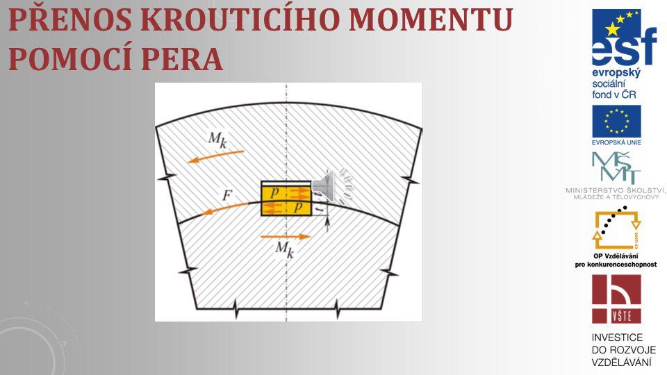 Přenos krouticího momentu pomocí pera