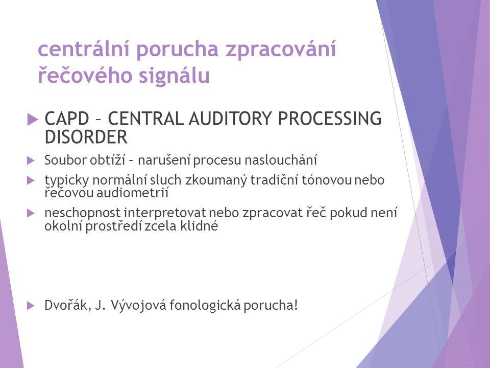 centrální porucha zpracování řečového signálu