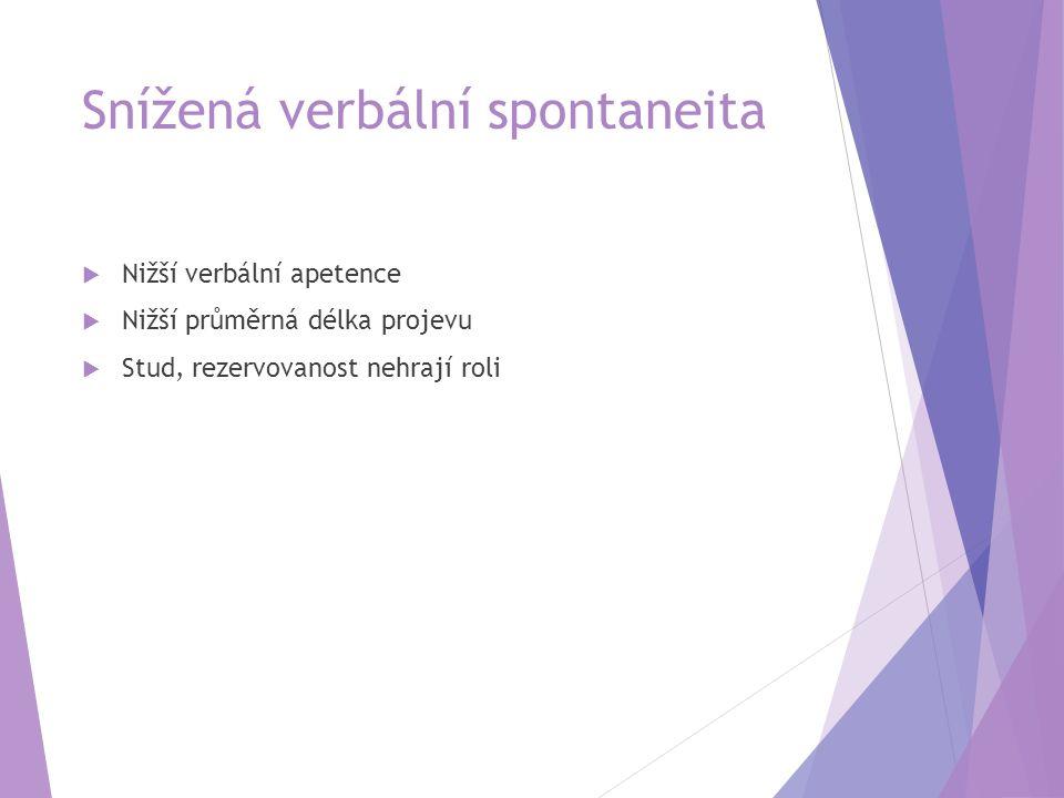 Snížená verbální spontaneita