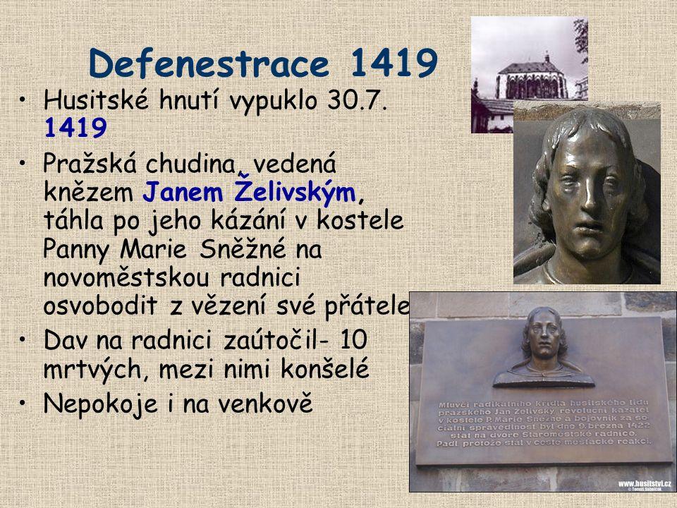 Defenestrace 1419 Husitské hnutí vypuklo 30.7. 1419