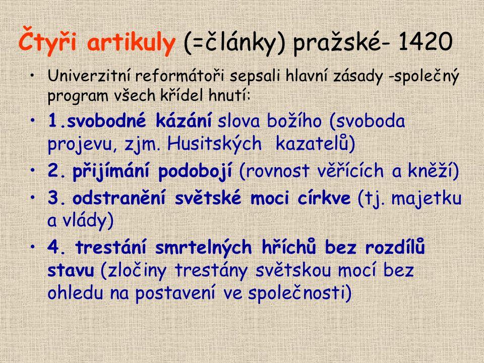 Čtyři artikuly (=články) pražské- 1420