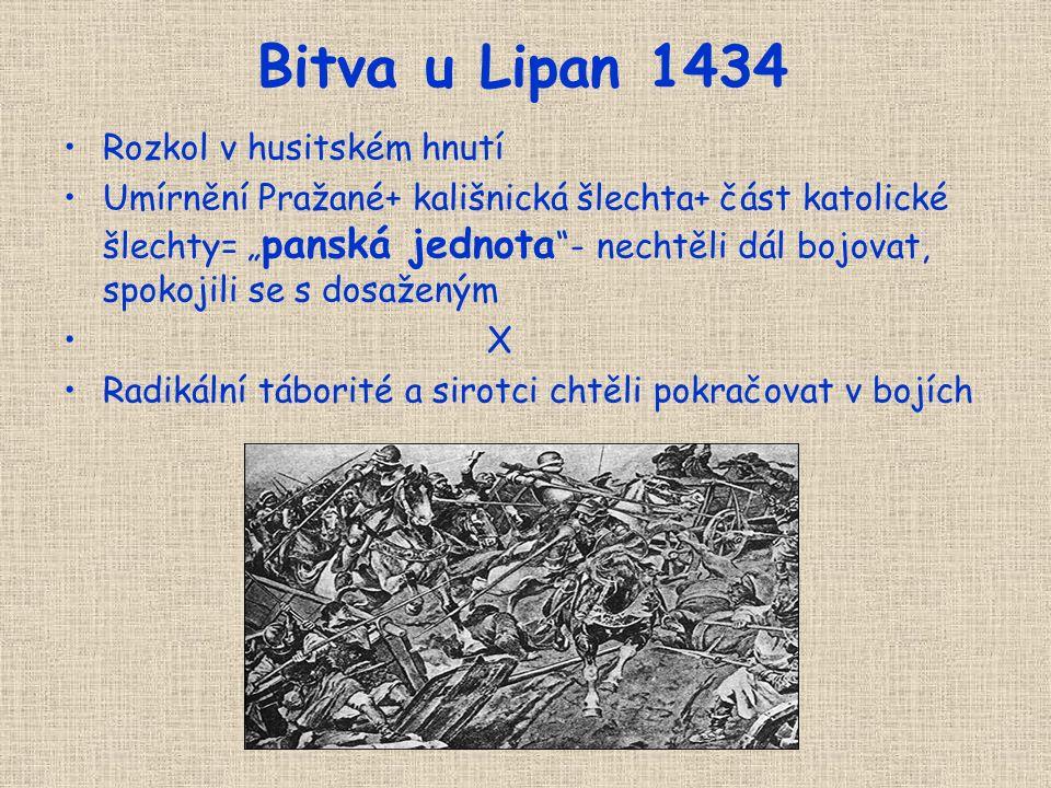 Bitva u Lipan 1434 Rozkol v husitském hnutí