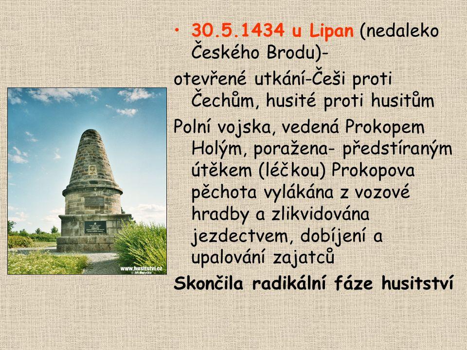 30.5.1434 u Lipan (nedaleko Českého Brodu)-