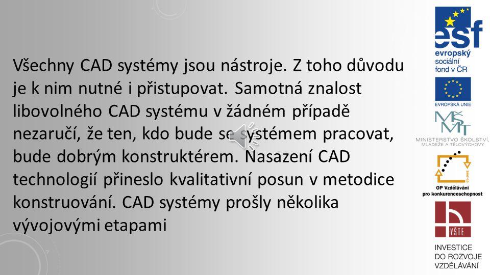 Všechny CAD systémy jsou nástroje