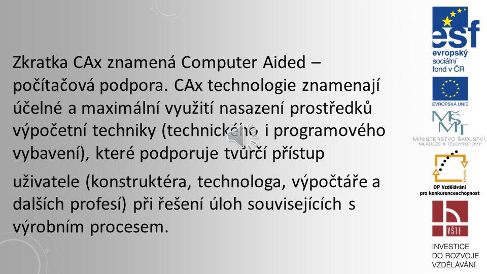 Zkratka CAx znamená Computer Aided – počítačová podpora