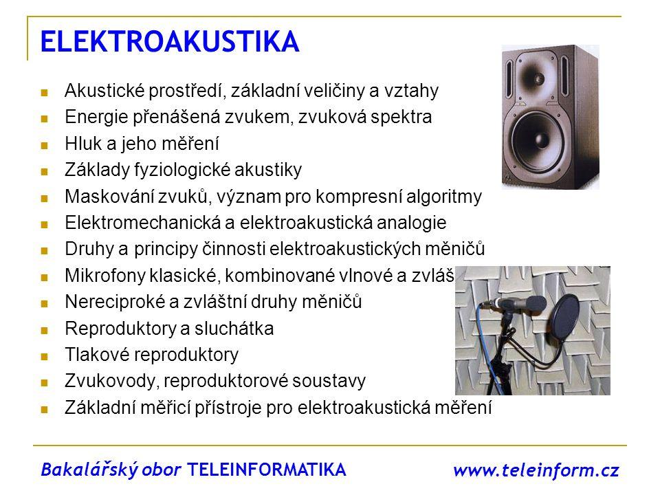 ELEKTROAKUSTIKA Akustické prostředí, základní veličiny a vztahy