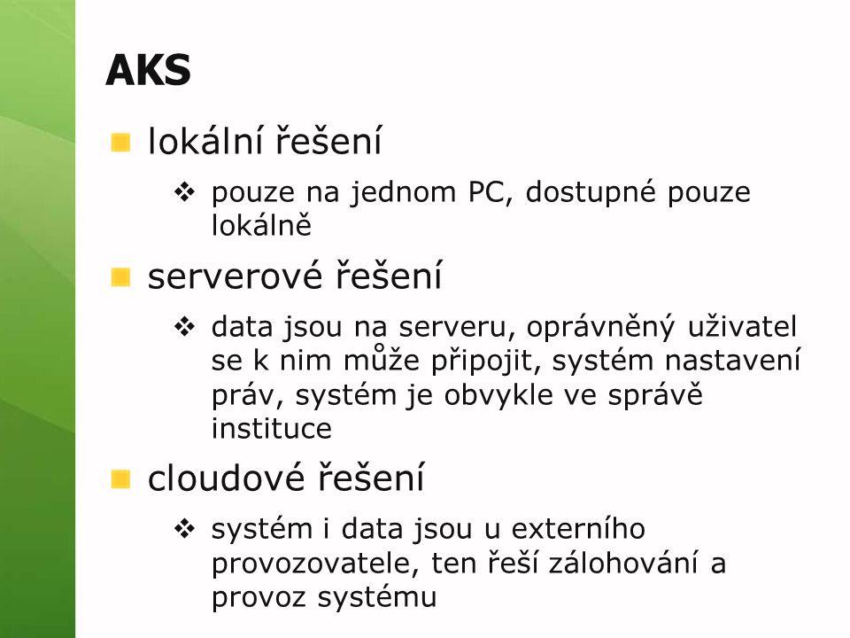 AKS lokální řešení serverové řešení cloudové řešení