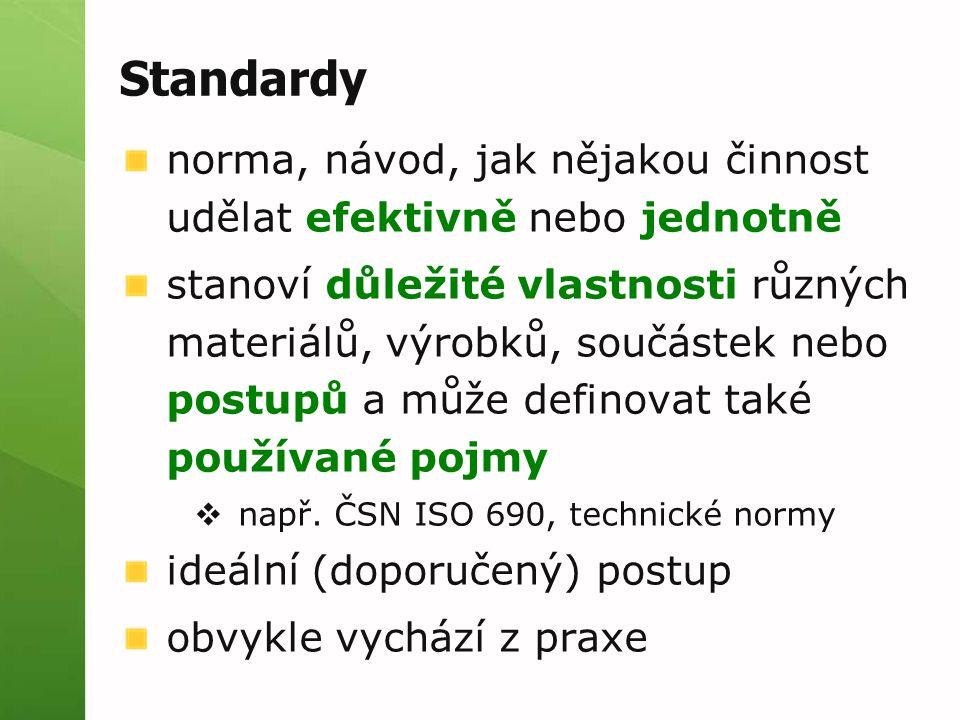 Standardy norma, návod, jak nějakou činnost udělat efektivně nebo jednotně.