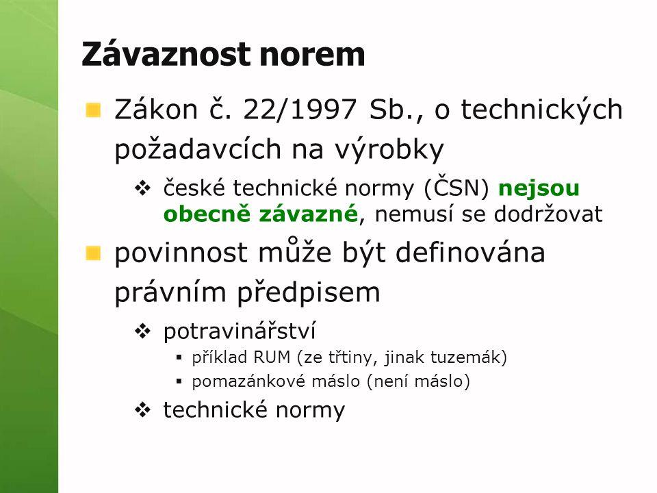 Závaznost norem Zákon č. 22/1997 Sb., o technických požadavcích na výrobky. české technické normy (ČSN) nejsou obecně závazné, nemusí se dodržovat.