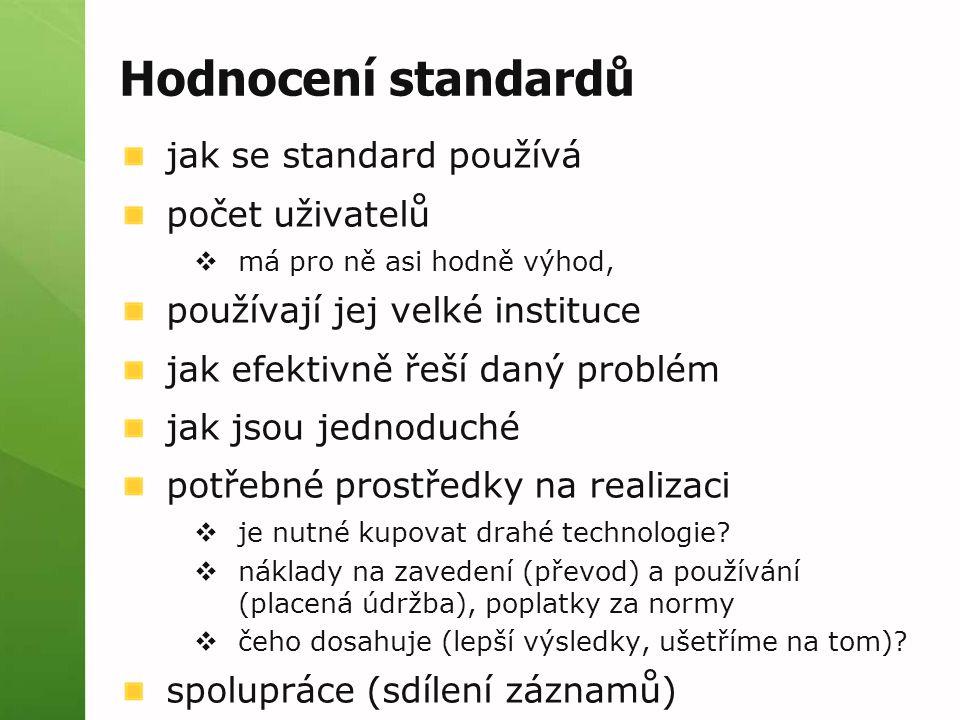 Hodnocení standardů jak se standard používá počet uživatelů