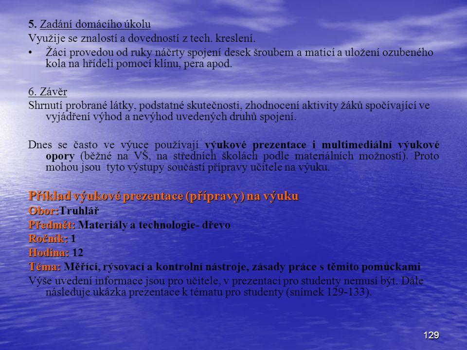 Příklad výukové prezentace (přípravy) na výuku