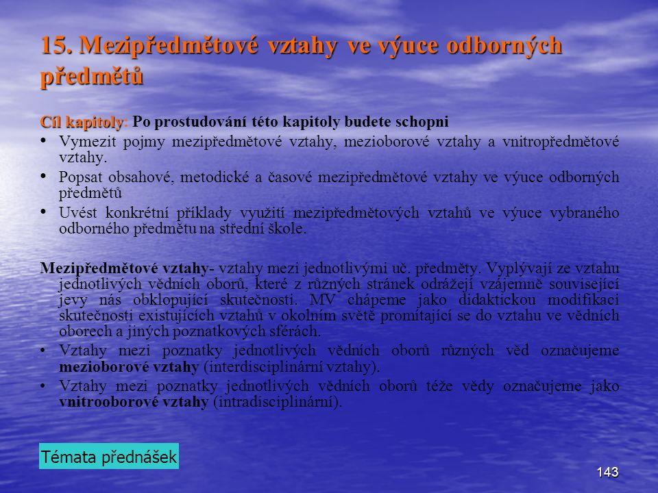 15. Mezipředmětové vztahy ve výuce odborných předmětů