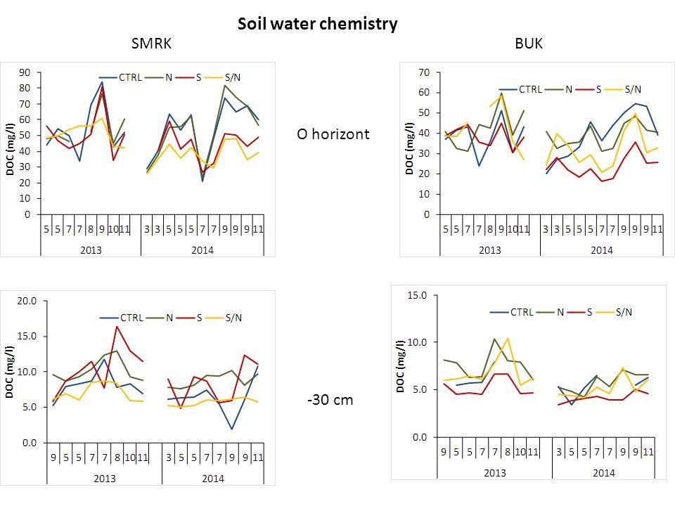 Soil water chemistry SMRK BUK O horizont -30 cm