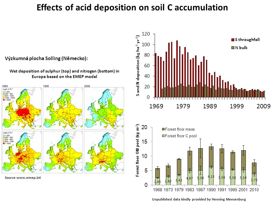 Effects of acid deposition on soil C accumulation