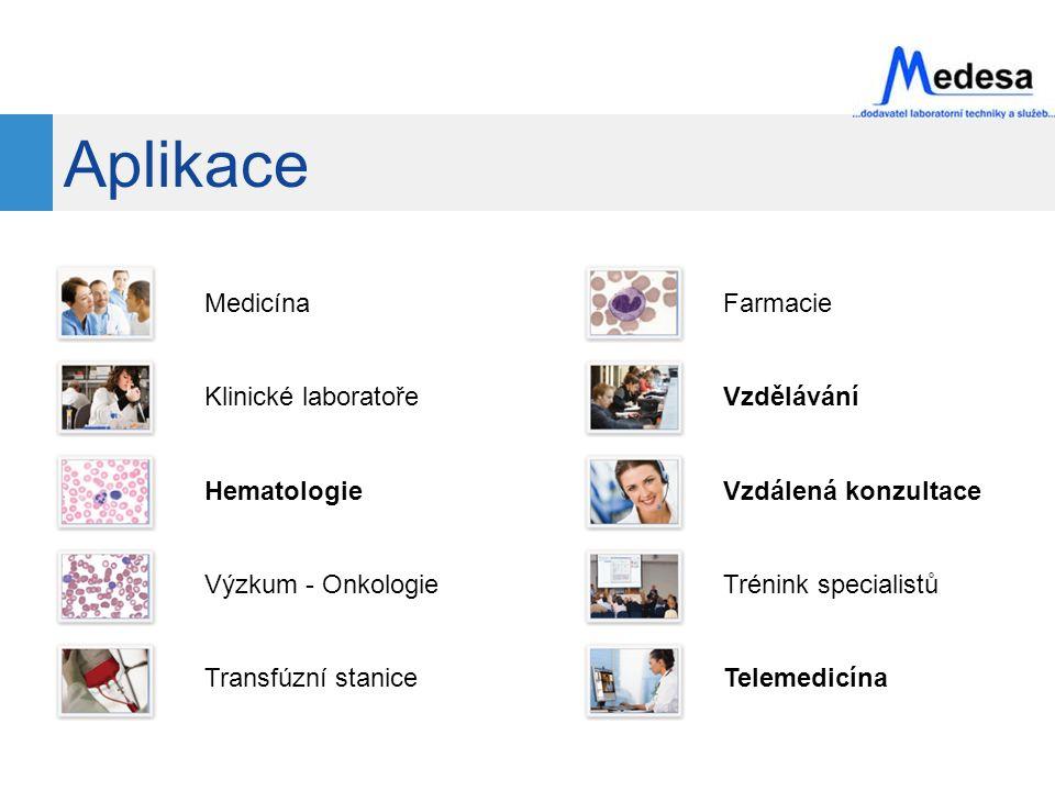 Aplikace Medicína Klinické laboratoře Hematologie Výzkum - Onkologie Transfúzní stanice