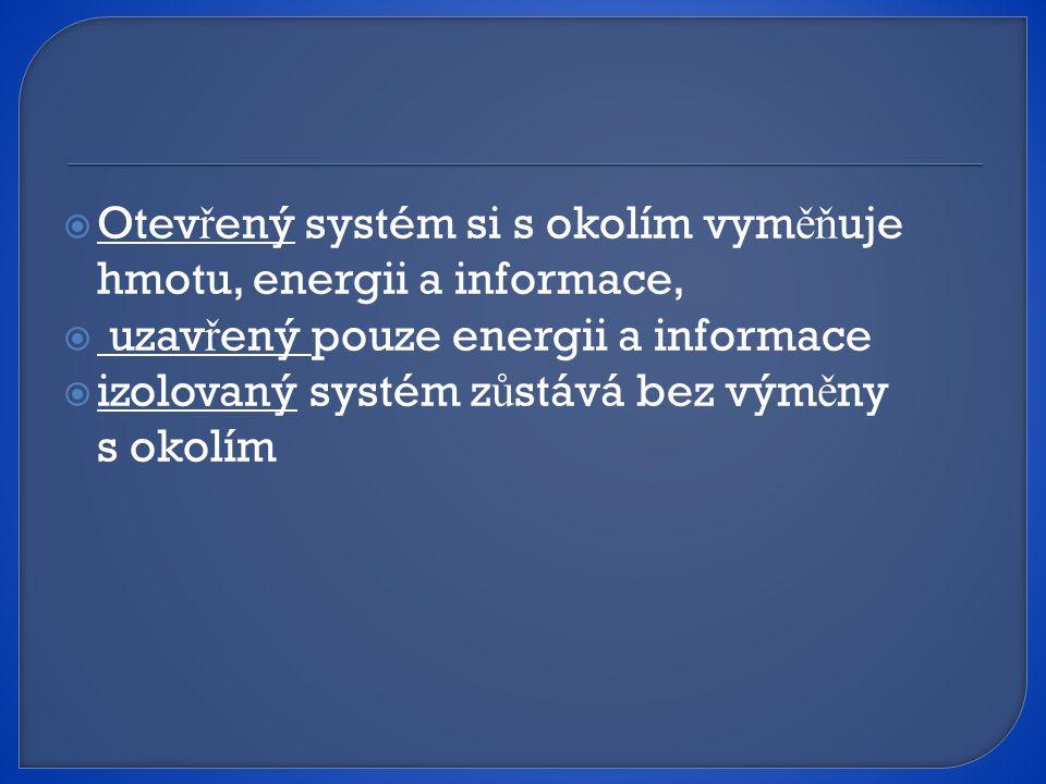 Otevřený systém si s okolím vyměňuje hmotu, energii a informace,