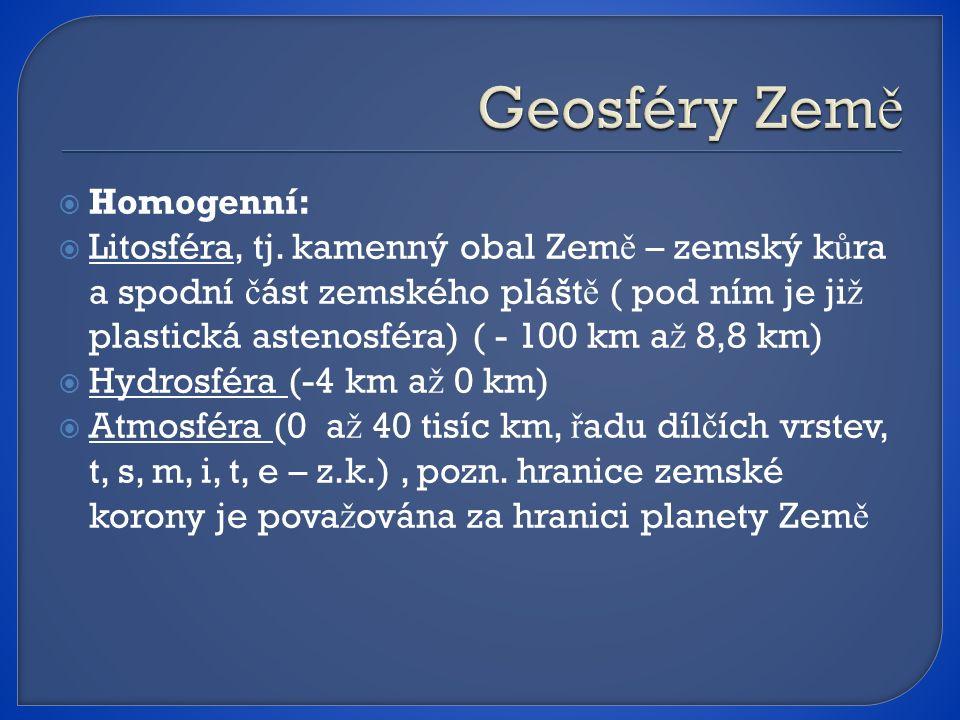 Geosféry Země Homogenní: