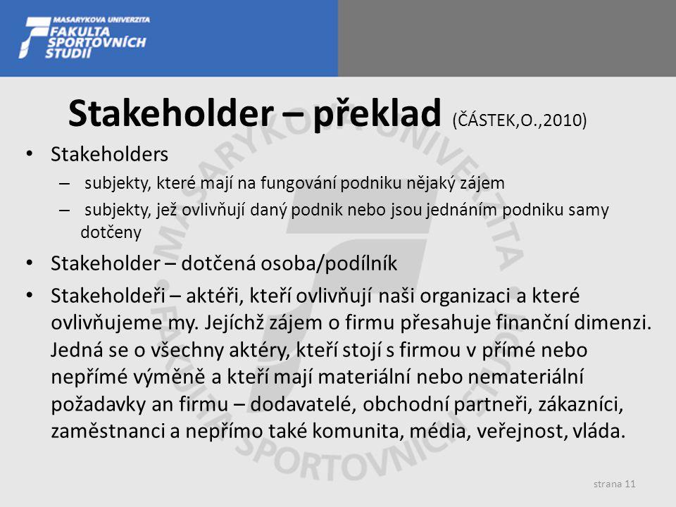 Stakeholder – překlad (ČÁSTEK,O.,2010)