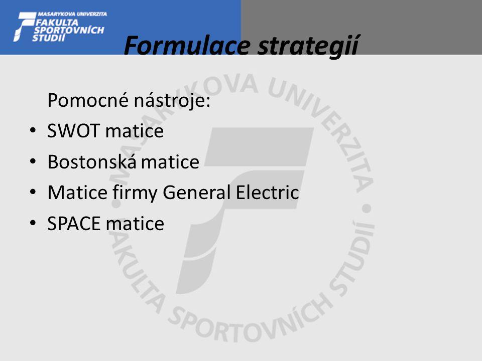 Formulace strategií Pomocné nástroje: SWOT matice Bostonská matice