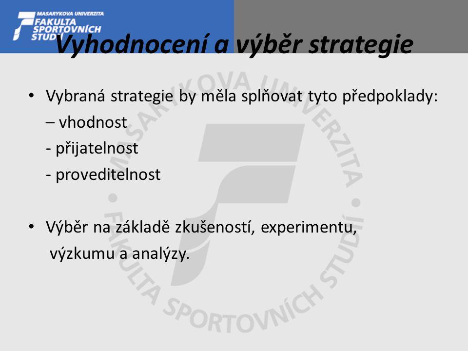 Vyhodnocení a výběr strategie