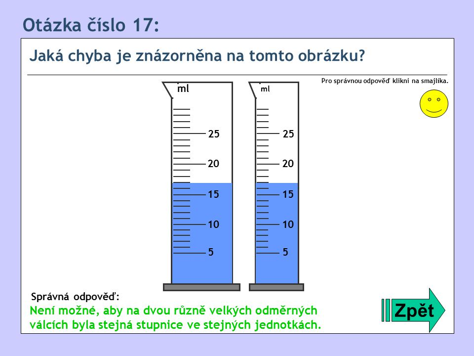 Otázka číslo 17: Zpět Jaká chyba je znázorněna na tomto obrázku