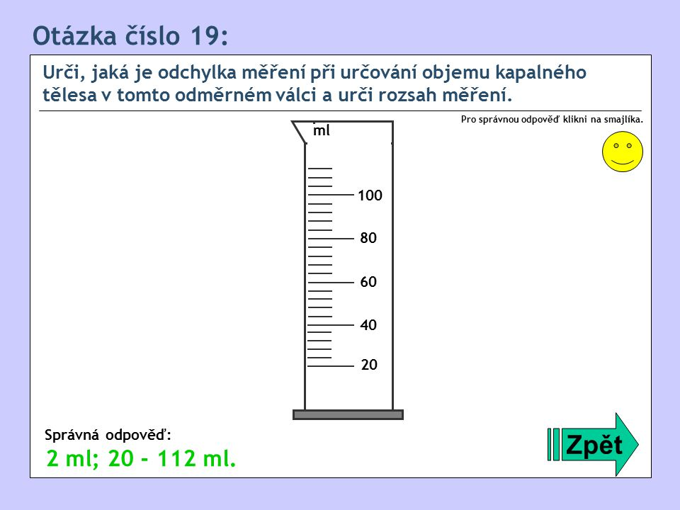 Otázka číslo 19: Zpět 2 ml; 20 - 112 ml.
