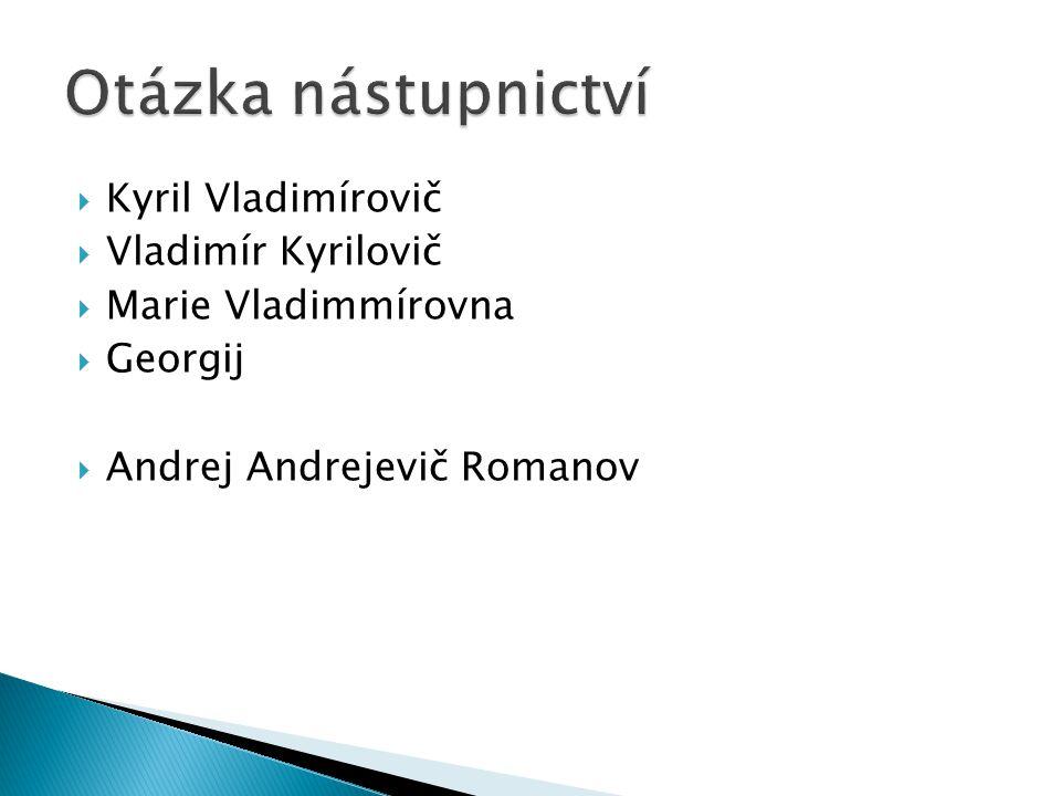 Otázka nástupnictví Kyril Vladimírovič Vladimír Kyrilovič
