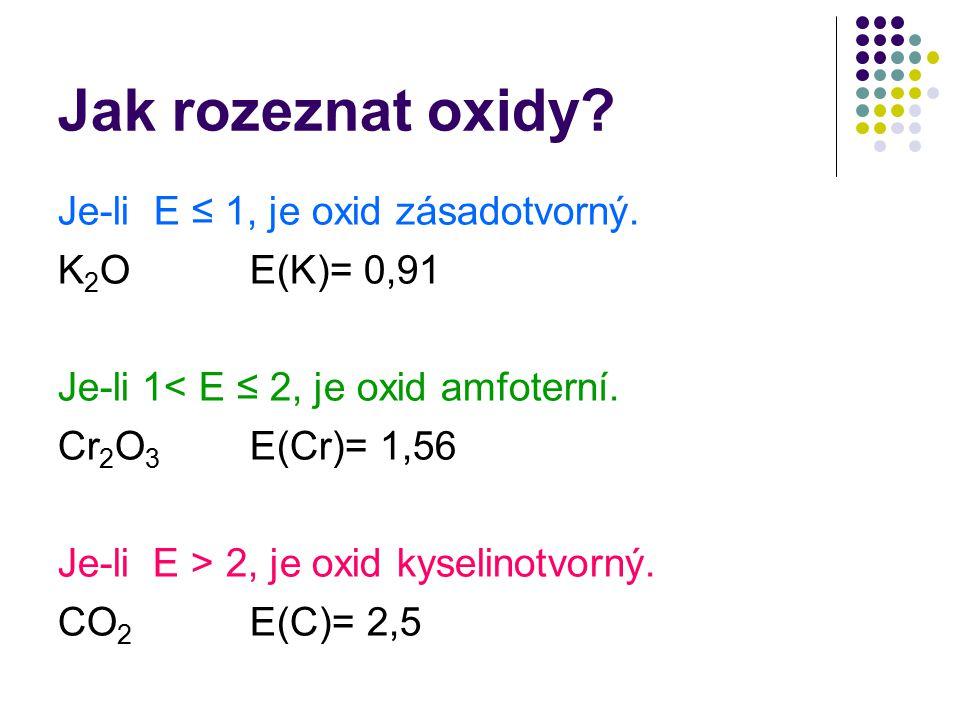 Jak rozeznat oxidy Je-li E ≤ 1, je oxid zásadotvorný. K2O E(K)= 0,91