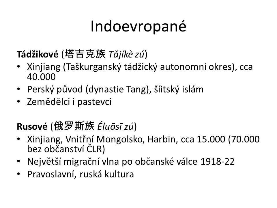 Indoevropané Tádžikové (塔吉克族 Tǎjíkè zú)
