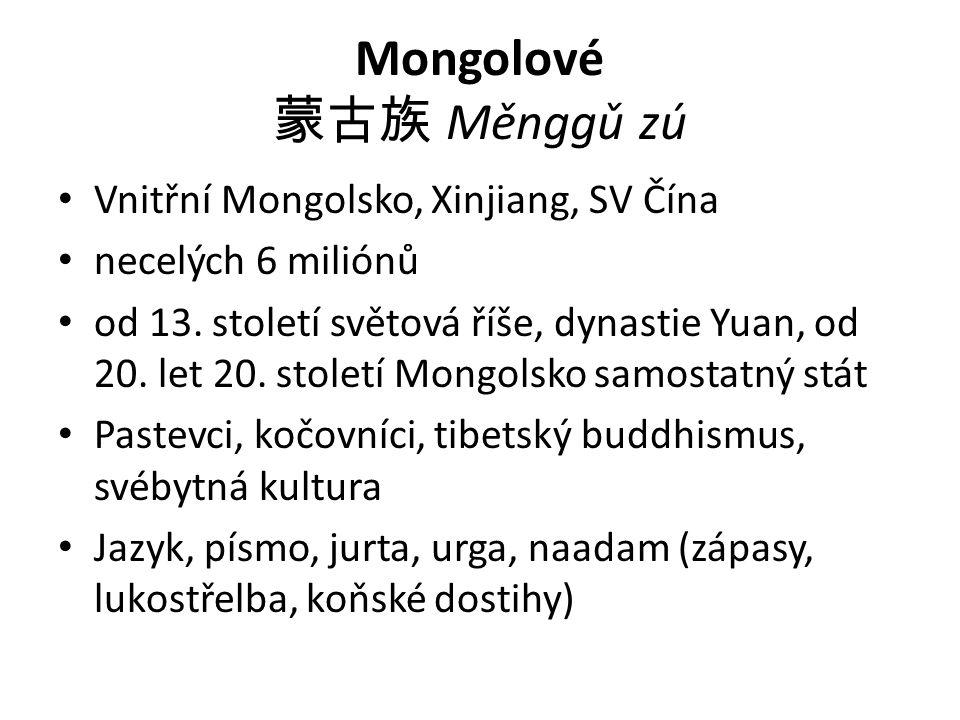 Mongolové 蒙古族 Měnggǔ zú