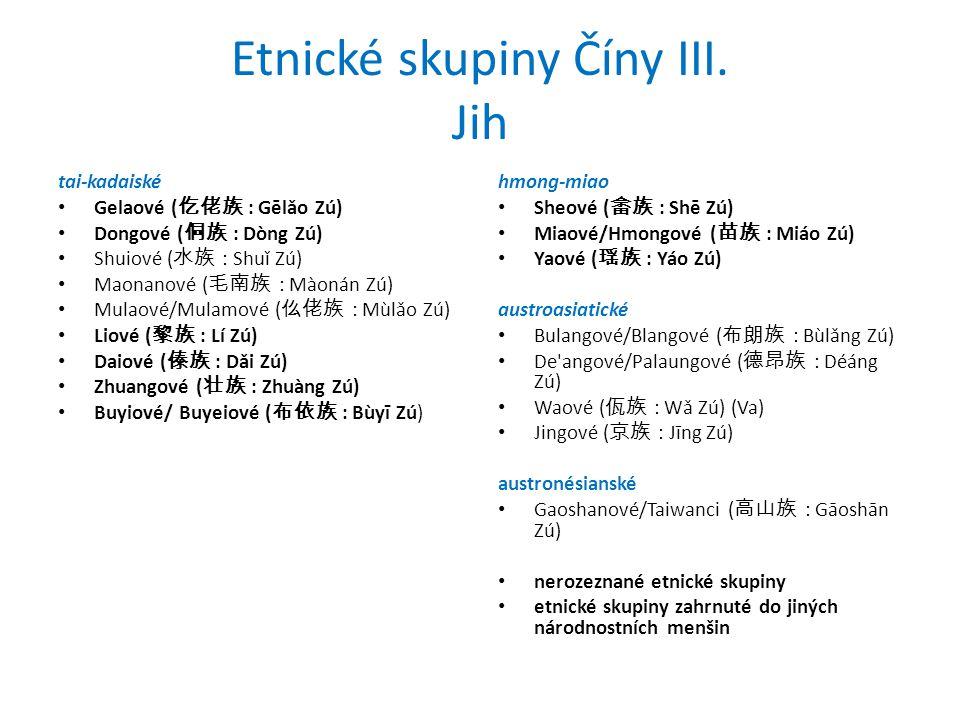 Etnické skupiny Číny III. Jih