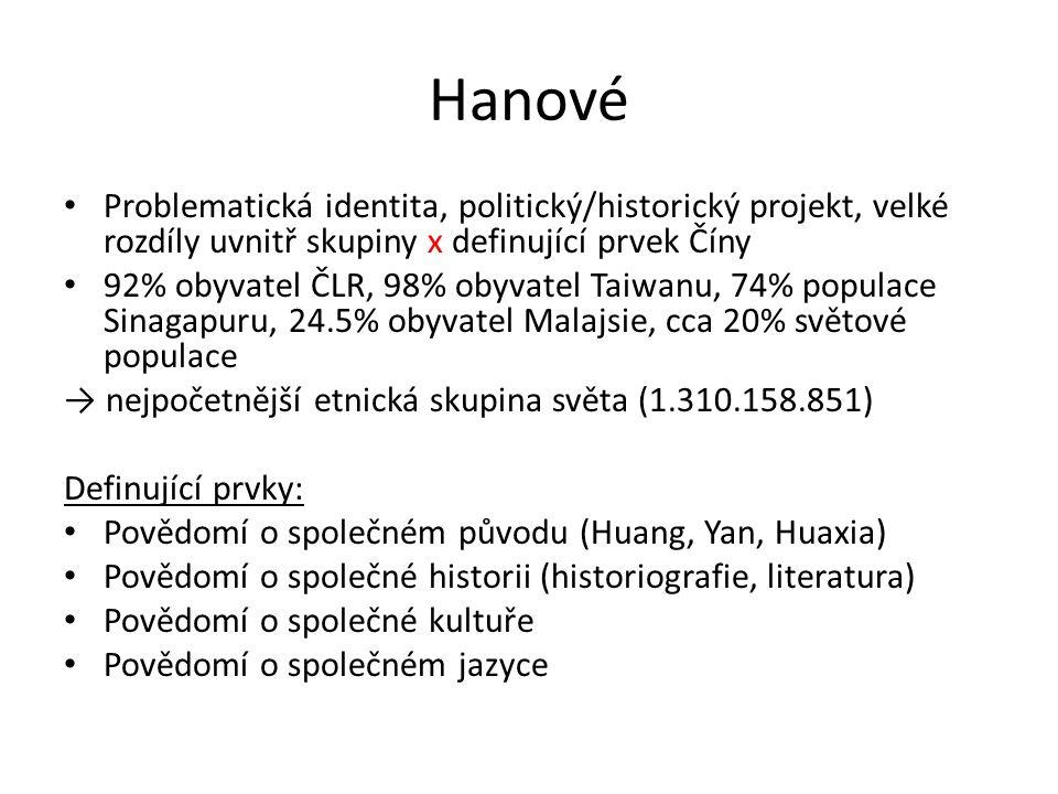 Hanové Problematická identita, politický/historický projekt, velké rozdíly uvnitř skupiny x definující prvek Číny.