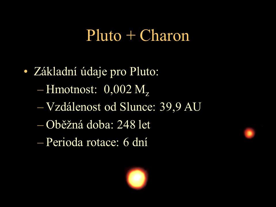 Pluto + Charon Základní údaje pro Pluto: Hmotnost: 0,002 Mz