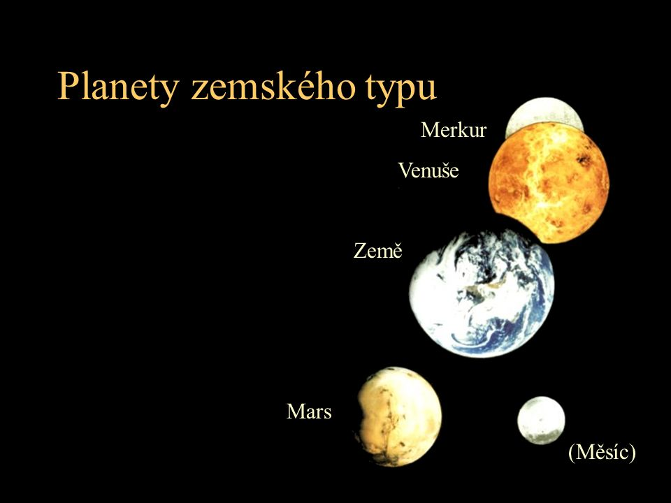 Planety zemského typu Merkur Venuše Země Mars (Měsíc)