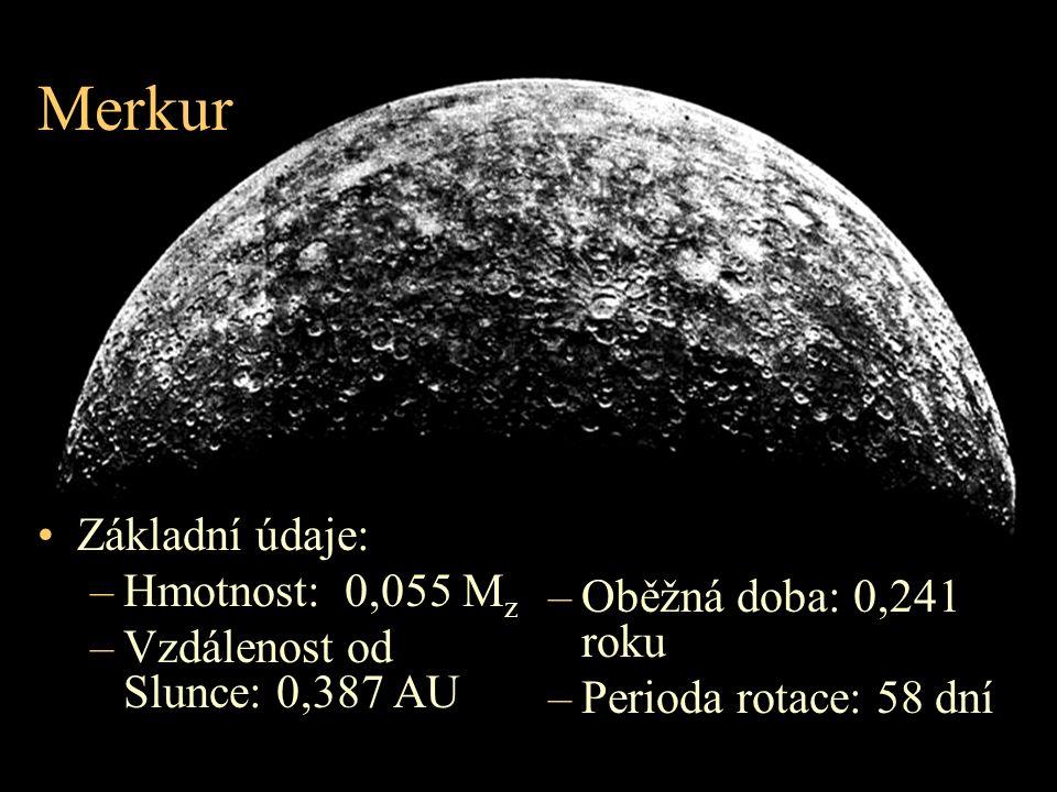 Merkur Základní údaje: Hmotnost: 0,055 Mz