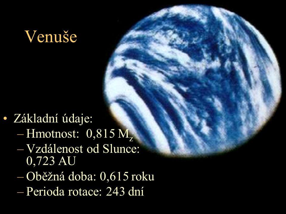 Venuše Základní údaje: Hmotnost: 0,815 Mz