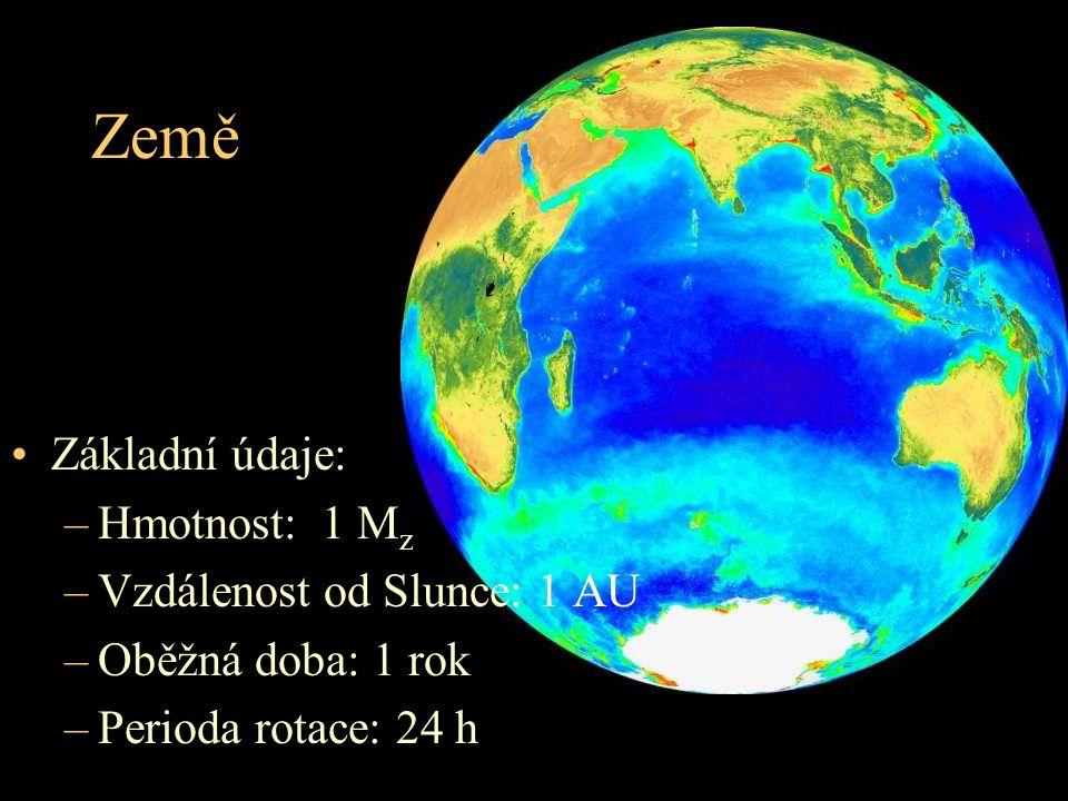 Země Základní údaje: Hmotnost: 1 Mz Vzdálenost od Slunce: 1 AU