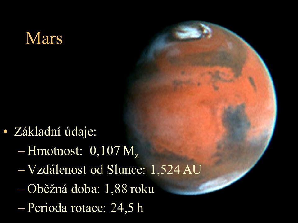 Mars Základní údaje: Hmotnost: 0,107 Mz Vzdálenost od Slunce: 1,524 AU