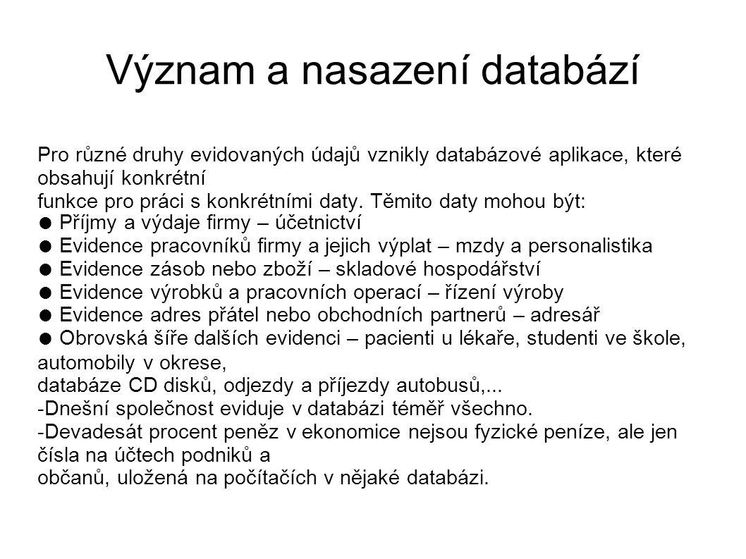Význam a nasazení databází