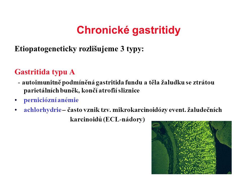 Chronické gastritidy Etiopatogeneticky rozlišujeme 3 typy:
