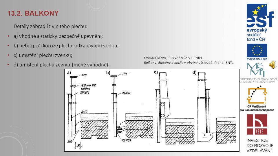 13.2. Balkony Detaily zábradlí z vlnitého plechu:
