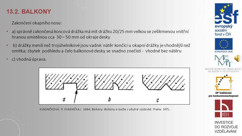 13.2. Balkony Zakončení okapního nosu: