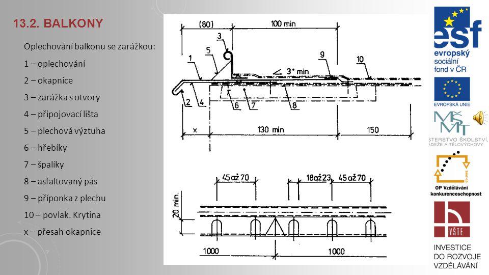 13.2. Balkony Oplechování balkonu se zarážkou: 1 – oplechování