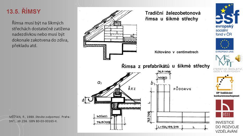 13.5. Římsy Římsa musí být na šikmých střechách dostatečně zatížena nadezdívkou nebo musí být dokonale zakotvena do zdiva, překladu atd.