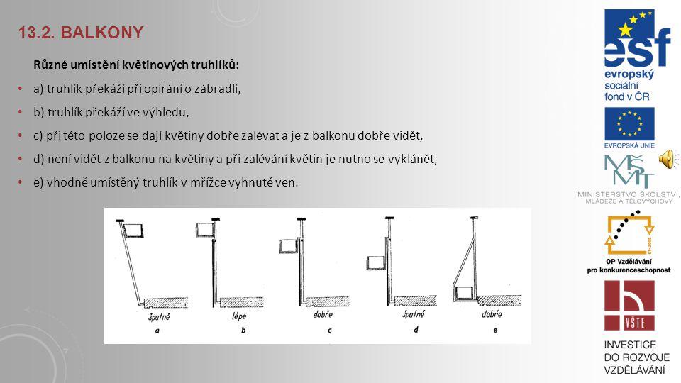 13.2. Balkony Různé umístění květinových truhlíků: