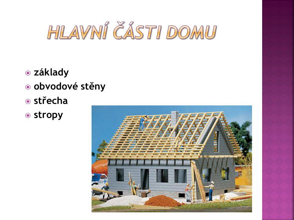 Hlavní části domu základy obvodové stěny střecha stropy