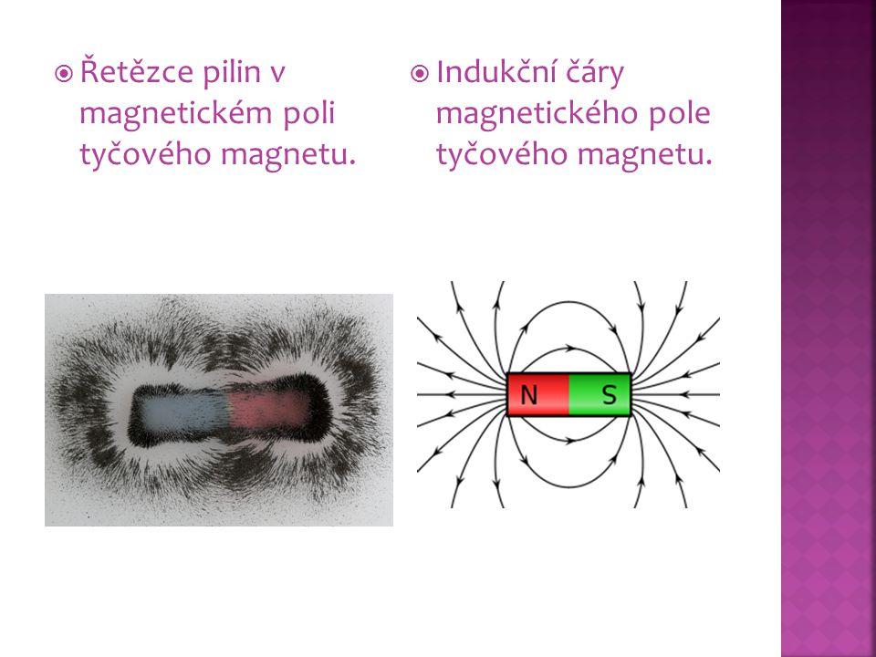 Řetězce pilin v magnetickém poli tyčového magnetu.